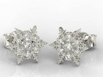 Kolczyki śnieżynki z białego złota z diamentami lpk-8609b