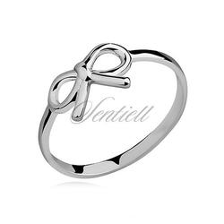 Srebrny delikatny pierścionek pr.925 kokardka