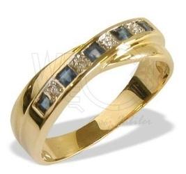 Pierścionek z żółtego złota z szafirami i diamentami jp-36z-r