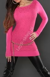 Różowa tunika z gipiurową wyrazistą koronką | gipiurowe różowe wizytowe tuniki, 8069