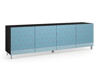 Nowoczesna komoda calisia niebiesko-beżowa z motywem geometrycznym  szer. 240 cm