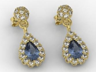 Kolczyki z żółtego złota z szafirami i diamentami apk-29z