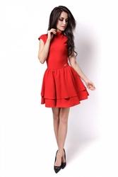 Czerwona sukienka mini z falbankami wycięta na plecach