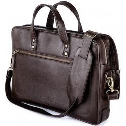 Skórzana męska torba na laptopa solier ciemnobrązowa - jednokomorowa  brązowy