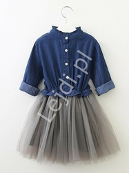 Dziecięca sukienka jeansowa z tiulową spódnicą