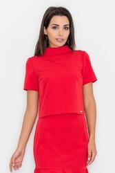 Czerwona bluzka z krótkim rękawem i półgolfem
