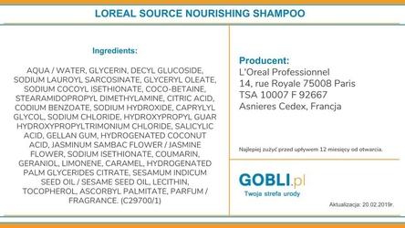 Loreal source nourishing shampoo, szampon do włosów zniszczonych 1500ml