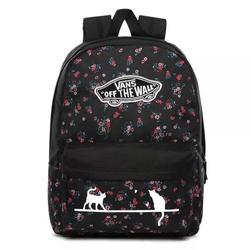 Plecak szkolny vans realm beauty floral black custom cats - vn0a3ui6zx3
