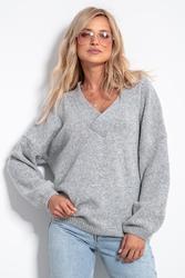 Wełniany sweter v neck - szary
