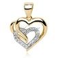 Srebrna zawieszka pr.925 pozłacane potrójne serce z białymi cyrkoniami - żółte złoto || rodowanie  biała
