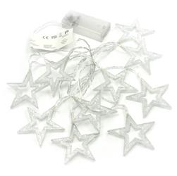 Lampki 10 led z brokatem gwiazdki ciepłe białe baterie świąteczne 6,5 cm gwiazdki świąteczne