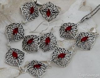 Galia - srebrny komplet z rubinem