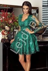 Szmaragdowa elegancka koronkowa rozkloszowana sukienka - amelia