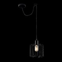 Lampa wisząca - klatka metalowa, czarna, na jedną żarówkę monza loft maytoni t442-pl-01-b