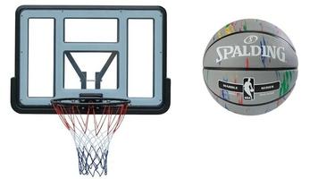 Tablica kosz do koszykówki spartan + piłka spalding nba marble