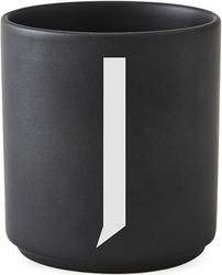 Kubek porcelanowy AJ czarny litera J