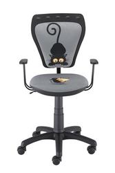 Obrotowe krzesło dziecięce z obrazkiem kota i myszki ministyle