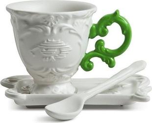 Filiżanka do kawy ze spodkiem i łyżeczką i-coffee zielona