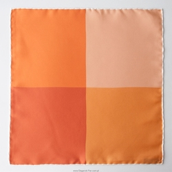 Czterokolorowa poszetka jedwabna odcienie pomarańczowego