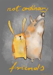 Królik i pies - plakat wymiar do wyboru: 30x40 cm