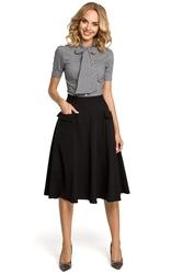 Rozkloszowana spódnica midi z kieszeniami czarna m321