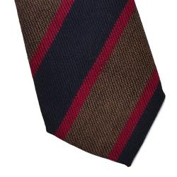 Wełniany krawat van thorn w granatowe i brązowe pasy