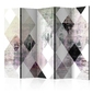 Parawan 5-częściowy - rombowa szachownica różowy room dividers