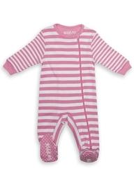 Pajacyk dla dziecka - różowe paseczki 0-3 m