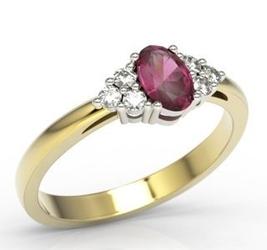 Pierścionek z żółtego i białego złota z rubinem i diamentami lp-88zb - żółte i białe  rubin