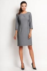 Szara klasyczna prosta sukienka z rękawem 34