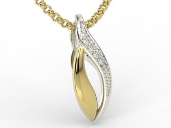 Wisiorek z żółtego i białego złota z diamentami bpw-17