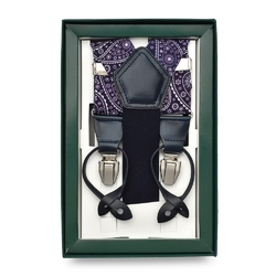 Granatowe szelki do spodni w biały wzór paisley