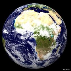 Obraz na płótnie canvas czteroczęściowy tetraptyk 3d ziemia