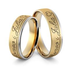 Obrączki ślubne dwukolorowe z imionami i emalią - au-982