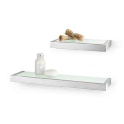 Zack - półka łazienkowa szklana 26 cm linea - stal nierdzewna matowa - stal matowa