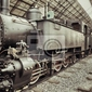 Fototapeta vintage pociąg parowy