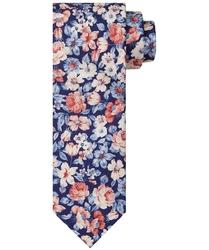 Elegancki granatowy krawat jedwabny w kolorowy kwiecisty wzór