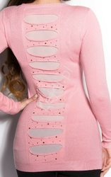 Sweter łososiowy wełniany z jedwabiem   tunika z kryształkami i jetami  8185