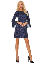 Granatowa prosta sukienka w kropki z falbanką przy rękawach