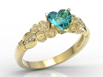 Pierścionek z żółtego złota z topazem swarovski ice blue i diamentami ap-52z-r - żółte z rodowaniem  topaz ice blue