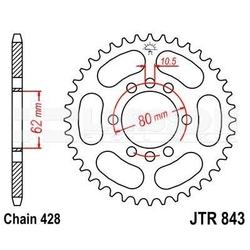 Zębatka tylna stalowa jt 843-51, 51z, rozmiar 428 2300378 yamaha dt 175
