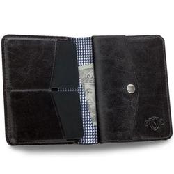 Skórzany cienki portfel męski z bilonówką solier sw15a slim ciemny brąz - brązowy