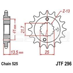 Zębatka przednia jt f296-16, 16z, rozmiar 525 2200399 honda xl 650, vt 600