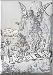 Ryngraf z powłoką srebra anioł z dzieckiem vl812021l - ok. 7 cm  ok. 5 cm