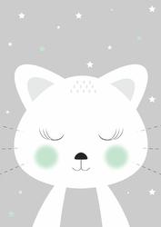 Kotek szary - plakat Wymiar do wyboru: 21x29,7 cm
