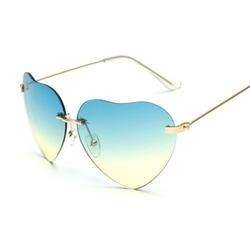 Okulary przeciwsłoneczne damskie serca. niebieskie - niebieskie