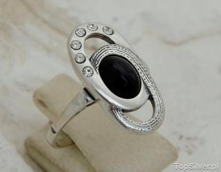 Allessi - srebrny pierścionek z onyksem i kryształkami