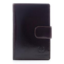 Brązowy skórzany męski portfel wielofunkcyjny