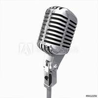 Obraz na płótnie canvas dwuczęściowy dyptyk stary mikrofon na białym tle