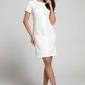 Ecru stylowa dopasowana sukienka z pionową plisą na przodzie